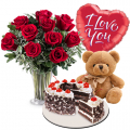 send anniversary rose bear balloon with cake to cebu philippines