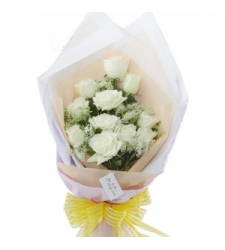 12 White Roses Bouquet  Online Order to Cebu Philippines