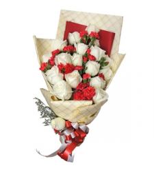 12 white roses with seasonal flowers bouquet to cebu