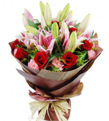 10 Pink Carnations and 10 Red Roses & 3 Pink lilies Online Order to Cebu Philippines