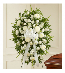 Deepest Sympathies White Funeral Standing Spray Online Order to Cebu Philippines