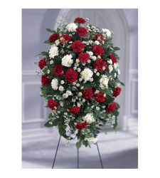 Red and White Local Funeral Standing Flowers Online Order to Cebu Philippines