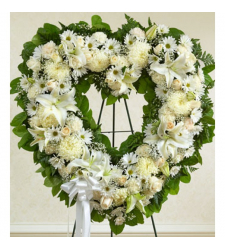Send Angelic All White Heart Wreath To Cebu
