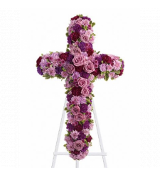 Send Pinks and Purples Galore Cross Standing Spray To Cebu