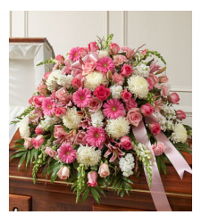 Send Pink and White Sympathy Casket Spray To Cebu