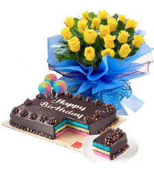 yellow rose bouquet with red ribbon dedication cake to cebu