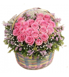send 12 pink roses in basket to cebu in philippines