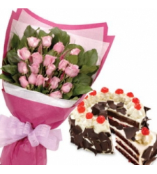 12 pink rose bouquet with cake to cebu