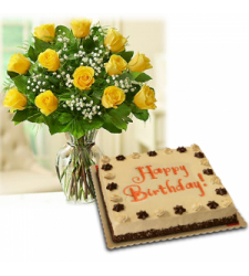 yellow rose vase with red ribbon mocha cake