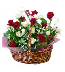 send 24 red and white roses in basket to cebu in philippines