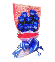 send 1 dozen blue roses in bouquet to cebu