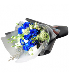 send 6pcs. blue roses in bouquet to cebu
