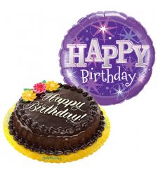 chocolate chiffon cake with birthday balloon to cebu