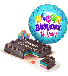 rainbow dedication cake with birthday balloon to cebu