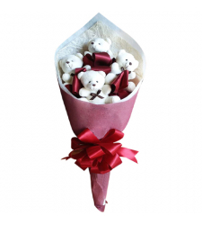 send adorable 4 pcs mini teddy bouquet to cebu