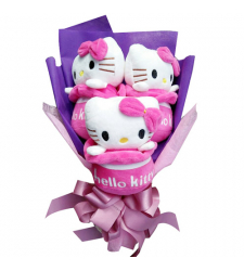 3 pcs Cute 7'' Hello Kitty in a Beautiful Bouquet Arrangement