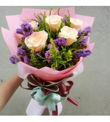 send 5 pcs. peach color roses in bouquet to cebu