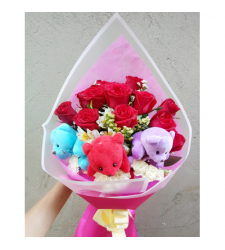 send 12 red roses with mini bear in bouquet to cebu
