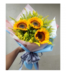 delivery 3 stems sunflower in bouquet to cebu