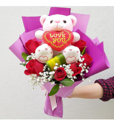 send 6 red roses with small bear in bouquet to cebu