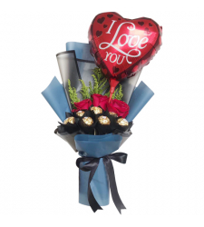 send roses with ferrero and balloon in bouquet to cebu