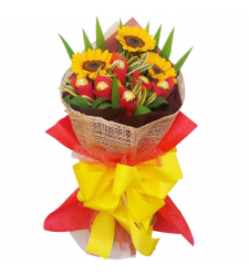 3 Pcs. Sunflower with 6 Pcs. Ferrero in Bouquet