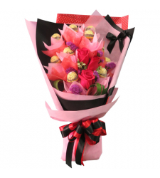 send 3 pcs. roses with 12pcs. ferrero in bouquet to cebu