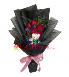 send 6 red roses with mini bear in bouquet to cebu