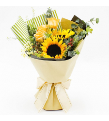 send 3 yellow roses and 2 sunflower in bouquet to cebu