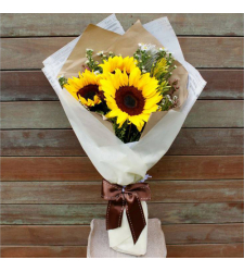 3 Fresh Sunflowers Arrangement