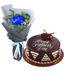 send f-day blue ecuadorian roses with chocolate cake to cebu