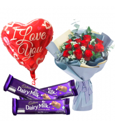 send 12 red roses with chocolate and balloon to cebu