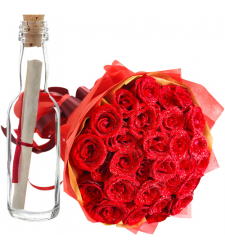 send 36 pcs. red roses with message in bottle to cebu