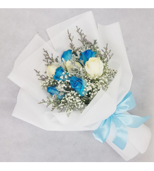 send bouquet of 8 blue and white roses to cebu