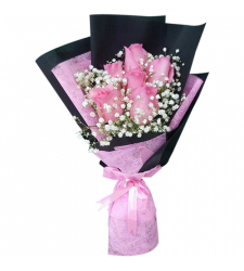 send adorable bouquet of 6 pink roses to cebu