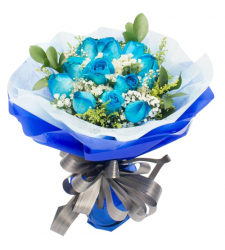 send bouquet consists 12 blue roses to cebu