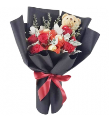 send red roses with chocolate and bear in bouquet to cebu