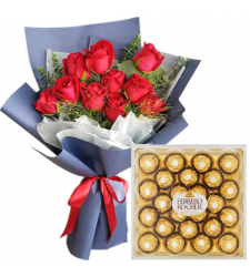 12 Red Roses Bouquet with 24 Ferrero Chocolate Box