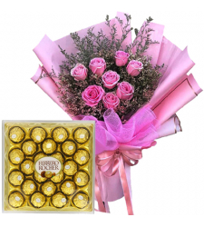 8 Pink Rose Bouquet with 24 pcs Ferrero Chocolate