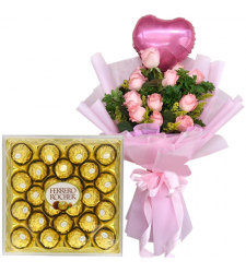 12 Pink Roses with Balloon and Ferrero Chocolate Box