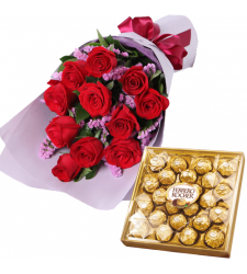 12 Red Roses Bouquet with 24 Pcs. Ferrero Chocolate Box