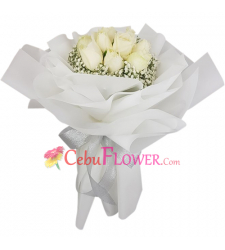 send 9 pcs. white color roses in bouquet to cebu