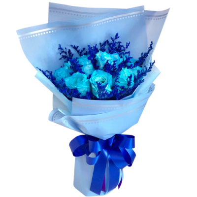 12 blue roses with greenery bouquet delivery to cebu