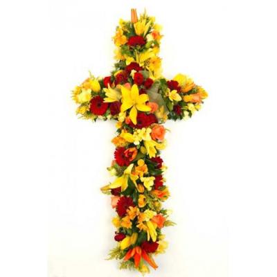Send Sympathy Lily and Gerbra Cross To Cebu