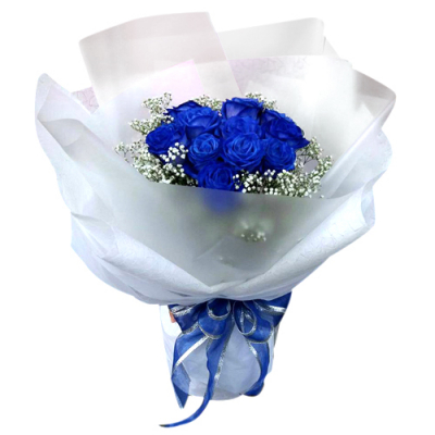 12 blue rose arrangements
