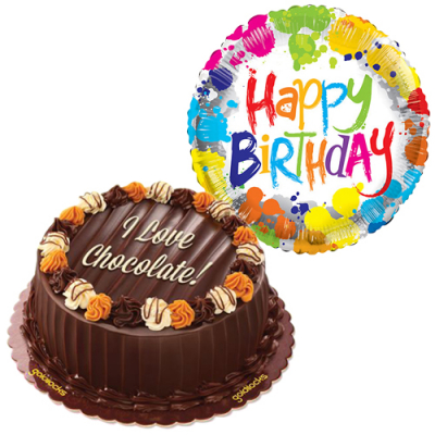 choco caramel cake with birthday balloon to cebu