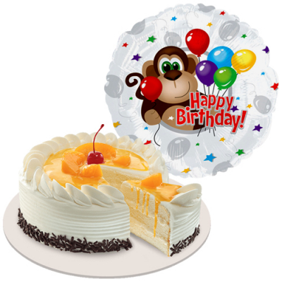peach mango cake with birthday balloon to cebu