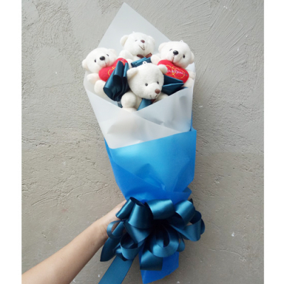 send 4 pcs. mini white color bear bouquet to cebu