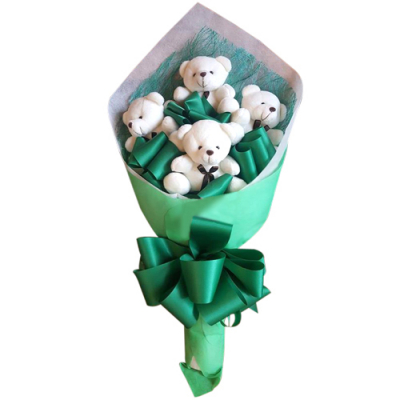 send 4 pcs. mini size teddy bear bouquet to cebu