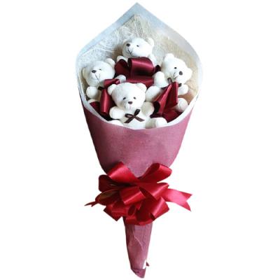 send adorable 4 pcs mini teddy bouquet to cebu